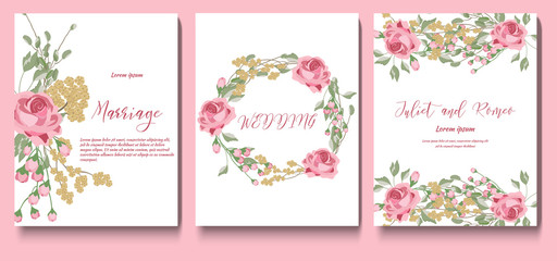 Set of cards with flowers roses, leaves. Flower posters, greeting cards, invitations template. Wedding ornament for invitations. Vector vintage decorative cards.
