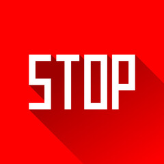 Stop sign in flat style, vector design danger text for you project