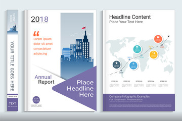 Cover book design template with business infographics data report chart, Use for annual report, proposal, portfolio, brochure, flyer, leaflet, catalog, magazine, booklet, Vector template in A4 layout.