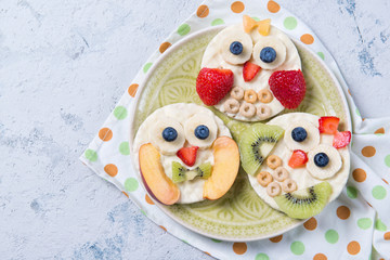 Rice cakes with yoghurt and fresh fruits in a shape of cute owls on a plate, meal for kids idea, top view