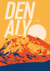 Denali in Alaska Range, North America, USA outdoor adventure poster. McKinley mountain at sunset illustration.