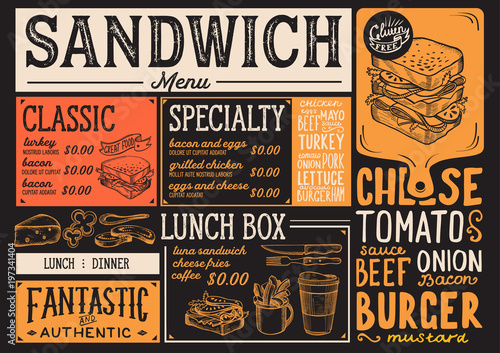 Sandwich Restaurant Menu Vector Food Flyer For Bar And Cafe Design