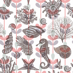 Colorful seamless pattern with sea horse, shell, corals. Vector clipart