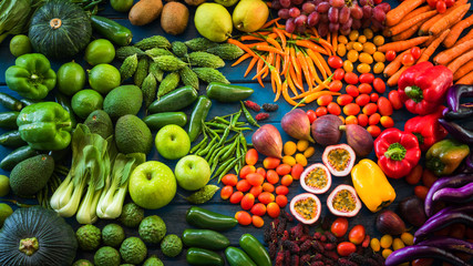 Different fruits and vegetables for eating healthy, Group of Colorful fruits and vegetables organic