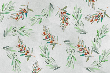 background of hand painted watercolor olive branches .