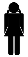Vector woman simple toilet icon isolated on white background