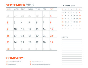 September 2018. Calendar planner design template. Week starts on Sunday. Stationery design