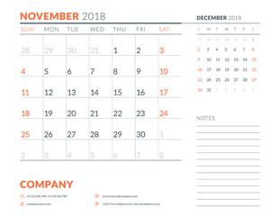 November 2018. Calendar planner design template. Week starts on Sunday. Stationery design