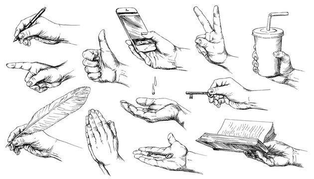Set of hand drawn hands.