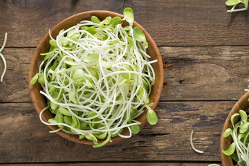 vegetable young sunflower sprouts on wood