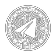 Crypto currency black coin with black gram symbol on obverse isolated on white background. Vector illustration. Use for logos, print products, page and web decor or other design.