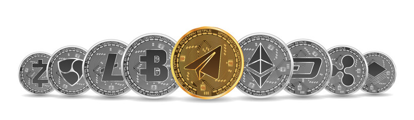 Set of gold and silver crypto currencies with golden gram in front of other crypto currencies as leader isolated on white background. Vector illustration. Use for logos, print products