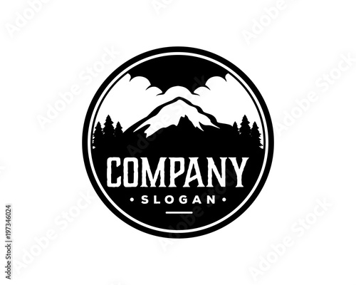 Black Mountain On The Forest With Cloud Sign Symbol Vintage Circle Logo Vector