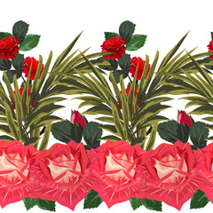 Tropical seamless floral pattern with leaves of palm tree and roses. Hand-drawn floral background for printing on fabric, clothing, home textiles, wallpaper, gift wrapping.