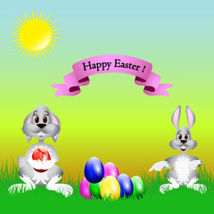 Easter cartoon illustration, a hare and a dog are sitting on the grass where the colored eggs lie, on a natural background,