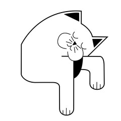 sleeping cat, vector cartoon illustration
