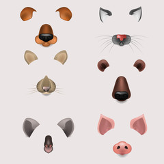 Vector realistic animals faces video chat, photo effects, selfie filters set.
