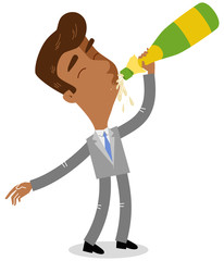 Vector illustration of celebrating asian cartoon businessman drinking from champagne bottle isolated on white background