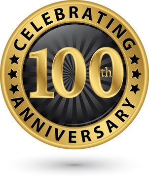 Celebrating 100th anniversary gold label, vector illustration