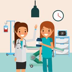 medical doctor nurse bottle iv satand and machine monitoring vector illustration