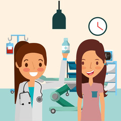 medical people professional and patient in room with stretcher machine iv stand vector illustration