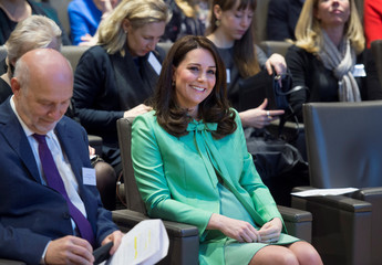 Britain's Catherine, Duchess of Cambridge attends a symposium at the Royal Society of Medicine, in London