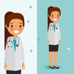female doctor with stethoscope in skirt and coat  vector illustration