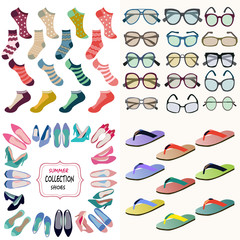 summer accessories collection Sunglasses, socks, shoes i