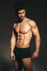 Fitness model posing in underwear