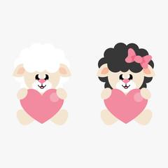 cartoon cute sheep white boy and sheep black black sitting with heart