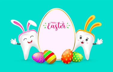 Easter banner background template with colorful eggs and bunny tooth. cute cartoon character design. Illustration on green background.
