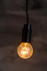 Decorative antique edison style light bulbs on the dark wall background. Loft interior details