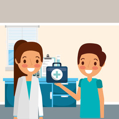 female doctors with stethoscope and first aid emergency  vector illustration