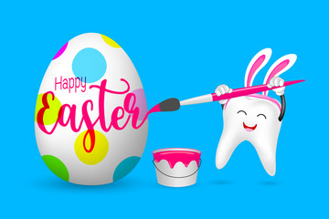 Cute cartoon bunny tooth painting Easter eggs. Dental character design,  Illustration isolated on blue background.