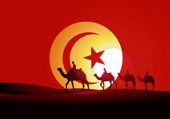 Tunisie - tourisme - dromadaire - désert - drapeau - voyage - voyager - dune - touriste - destination