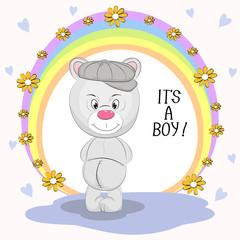Cute  bear and inscription Its a Boy.