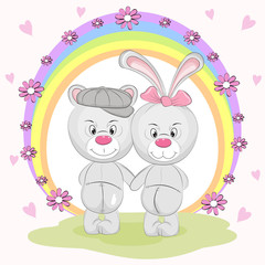 Best freands cute animal bear and hare in cartoon style.