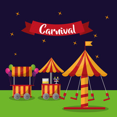 carnival carousel booths ice cream balloos and star background vector illustration