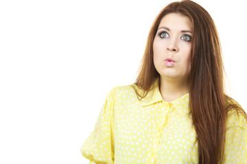 Shocked amazed woman