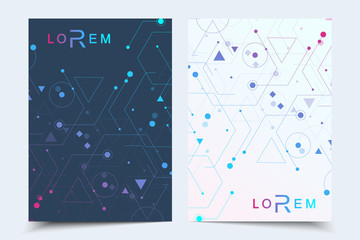Vector templates for brochure magazine leaflet flyer cover booklet annual report. Modern futuristic hexagonal pattern with particle, molecule structure for medical, technology, chemistry, science.
