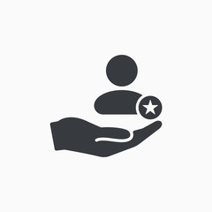 Customer icon with star sign. Customer icon and best, favorite, rating symbol