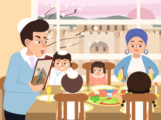 reading the haggadah, jewish  family at feast of passover vector