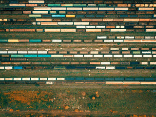 Aerial drone landscape with cargo trains
