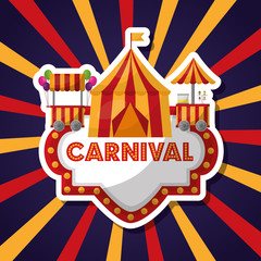 carnival board with tent booth starburst background vector illustration