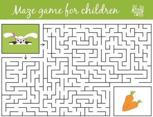 Help bunny girl find path to carrots through the labyrinth. Maze game