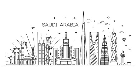 Saudi Arabia detailed Skyline. Travel and tourism background