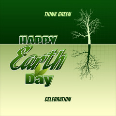 Celebration, design, background with 3d texts and symmetrical tree for Earth day, event celebration; Vector illustration