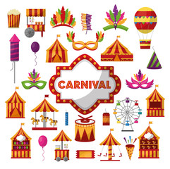 carnival set tent carousel ferris mask fireworks drum balloon vector illustration