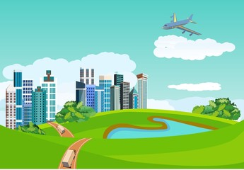 Countryside landscape concept. City buildings in green hills, blue lake, road ribbon, plane in the sky, vector illustration.