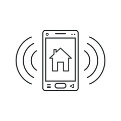 Mobile phone icon with house sign